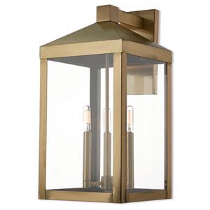 Nyack Antique Brass 11-Inch Three-Light Outdoor Wall Lantern