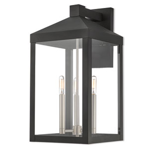 Nyack Black 11-Inch Three-Light Outdoor Wall Lantern