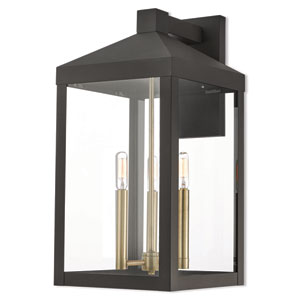 Nyack Bronze 11-Inch Three-Light Outdoor Wall Lantern