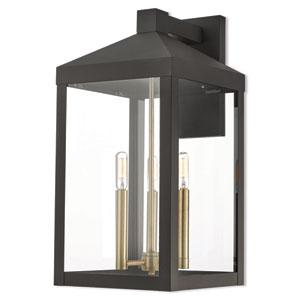 Nyack Bronze 11-Inch Three-Light Outdoor Wall Lantern