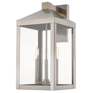 Nyack Brushed Nickel 11-Inch Three-Light Outdoor Wall Lantern
