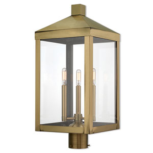 Nyack Antique Brass 11-Inch Three-Light Outdoor Post Top Lantern