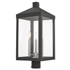 Nyack Black 11-Inch Three-Light Outdoor Post Top Lantern