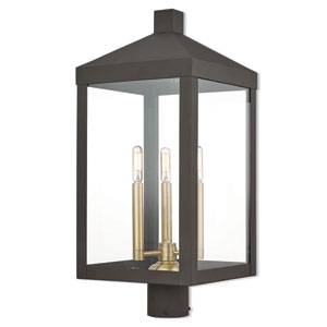 Nyack Bronze 11-Inch Three-Light Outdoor Post Top Lantern