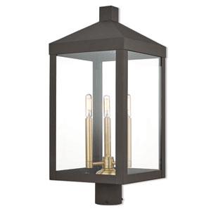 Nyack Bronze 11-Inch Three-Light Outdoor Post Top Lantern