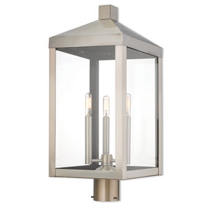 Nyack Brushed Nickel 11-Inch Three-Light Outdoor Post Top Lantern
