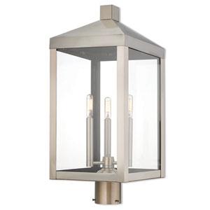 Nyack Brushed Nickel 11-Inch Three-Light Outdoor Post Top Lantern