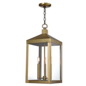 Nyack Antique Brass 11-Inch Three-Light Outdoor Pendant Lantern