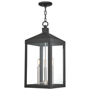 Nyack Black 11-Inch Three-Light Outdoor Pendant Lantern