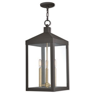 Nyack Bronze 11-Inch Three-Light Outdoor Pendant Lantern