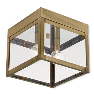Nyack Antique Brass 8-Inch Two-Light Outdoor Ceiling Mount