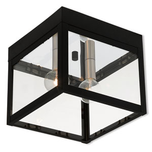 Nyack Black 8-Inch Two-Light Outdoor Ceiling Mount