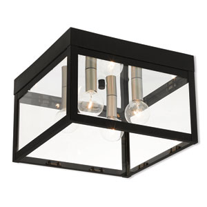 Nyack Black 11-Inch Four-Light Outdoor Ceiling Mount