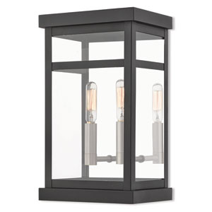 Hopewell Black 13-Inch Two-Light Outdoor Wall Lantern