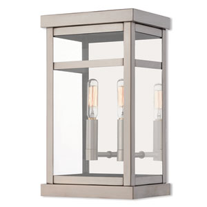 Hopewell Brushed Nickel 13-Inch Two-Light Outdoor Wall Lantern