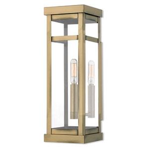 Hopewell Antique Brass 15-Inch One-Light Outdoor Wall Lantern