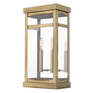 Hopewell Antique Brass 18-Inch Two-Light Outdoor Wall Lantern