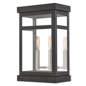 Hopewell Black 15-Inch Two-Light Outdoor Wall Lantern