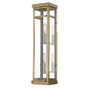 Hopewell Antique Brass 22-Inch Two-Light Outdoor Wall Lantern