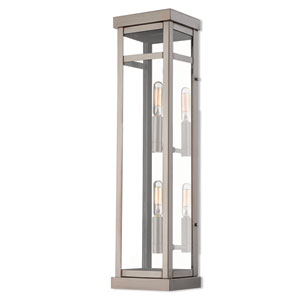 Hopewell Brushed Nickel 22-Inch Two-Light Outdoor Wall Lantern