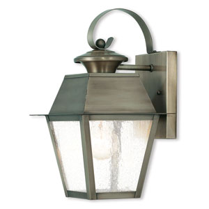 Mansfield Vintage Pewter 7.5-Inch One-Light Outdoor Wall Lantern