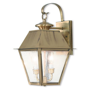 Mansfield Antique Brass 9-Inch Two-Light Outdoor Wall Lantern
