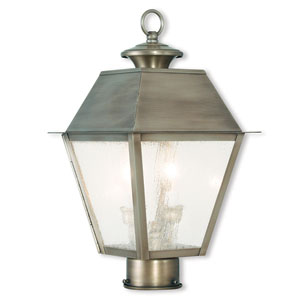 Mansfield Vintage Pewter 9-Inch Two-Light Post-Top Lantern with Seeded Glass
