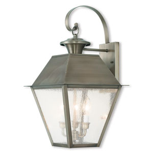 Mansfield Vintage Pewter 9-Inch Two-Light Outdoor Wall Lantern