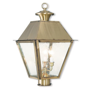 Mansfield Antique Brass 12-Inch Three-Light Post-Top Lantern with Seeded Glass
