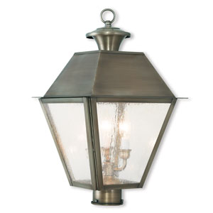 Mansfield Vintage Pewter 12-Inch Three-Light Post-Top Lantern with Seeded Glass