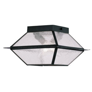 Mansfield Black Two-Light Outdoor Ceiling Mount