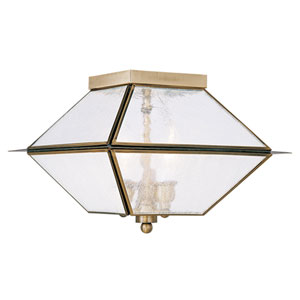 Mansfield Antique Brass Three Light Outdoor and Indoor Ceiling Mount