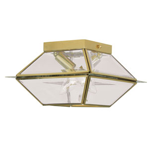Westover Polished Brass Two-Light Outdoor Ceiling Mount