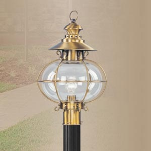 Harbor Flemish Brass Outdoor Post Lantern