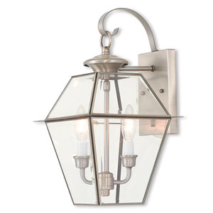 Westover Brushed Nickel 9-Inch Two-Light Outdoor Wall Lantern