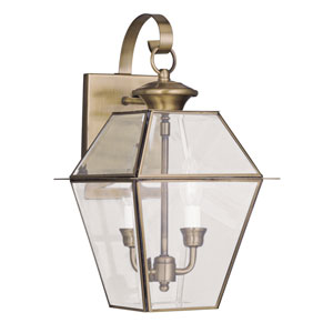 Westover Antique Brass Two-Light Outdoor Wall Lantern