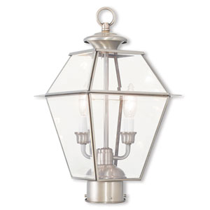 Westover Brushed Nickel 9-Inch Two-Light Post-Top Lantern with Clear Beveled Glass