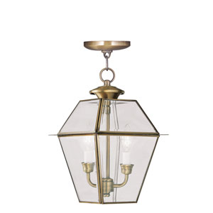 Westover Antique Brass Two-Light Outdoor Pendant