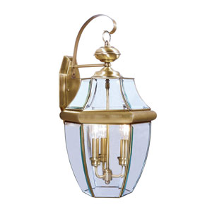 Monterey Antique Brass Three-Light Outdoor Fixture