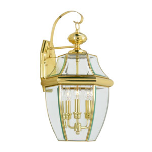 Monterey Polished Brass Three-Light Outdoor Fixture