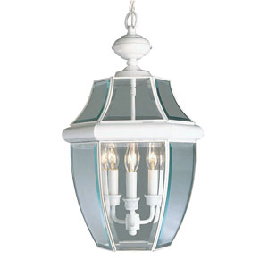 Monterey White Three-Light Outdoor Fixture