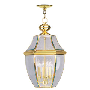 Monterey Polished Brass Four-Light Outdoor Pendant