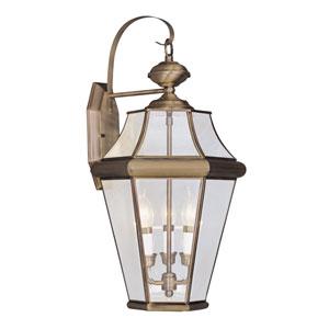 Georgetown Antique Brass Three-Light Outdoor Wall Lantern