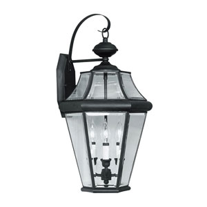 Georgetown Black Three-Light Outdoor Fixture