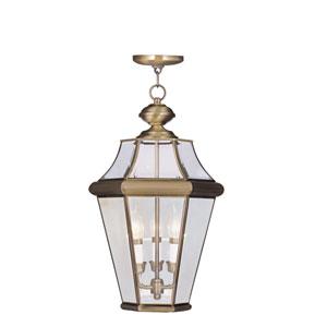 Georgetown Antique Brass Three-Light Outdoor Pendant