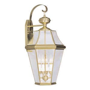 Georgetown Polished Brass Four-Light Outdoor Wall Lantern