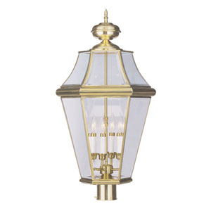Georgetown Polished Brass Four-Light Outdoor Post Mount