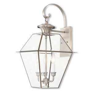 Westover Brushed Nickel 12-Inch Three-Light Outdoor Wall Lantern