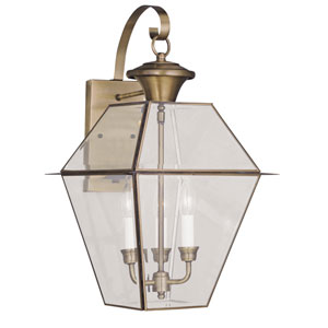 Westover Antique Brass Three-Light Outdoor Wall Lantern