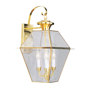 Westover Polished Brass Three-Light Outdoor Wall Light